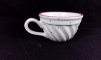 Tasse h: 6 cm d: 9cm mit Riss am Henkel rosa Tupfen Gmundner Keramik