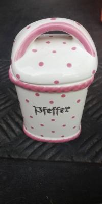 Dose für Pfeffer Gmundner Keramik rosa Tupfen