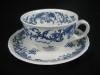 Teegedeck Teetasse mit Unterteller und Kuchenteller Valeria blau